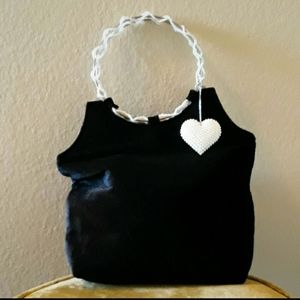 Black Velvet with a Pearly Heart Bag